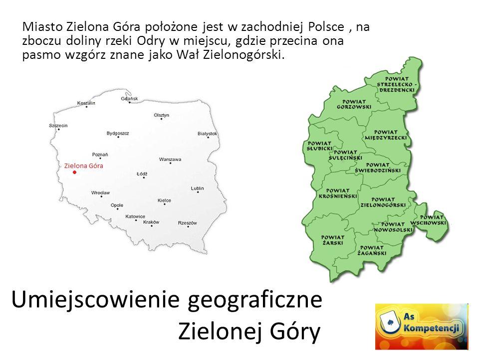 Miasto Zielona Góra położone jest w zachodniej Polsce, na zboczu doliny rzeki Odry w miejscu, gdzie przecina ona pasmo wzgórz znane jako Wał Zielonogó