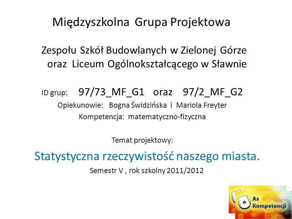 Międzyszkolna Grupa Projektowa Zespołu Szkół Budowlanych w Zielonej Górze oraz Liceum Ogólnokształcącego w Sławnie ID grup: 97/73_MF_G1 oraz 97/2_MF_G