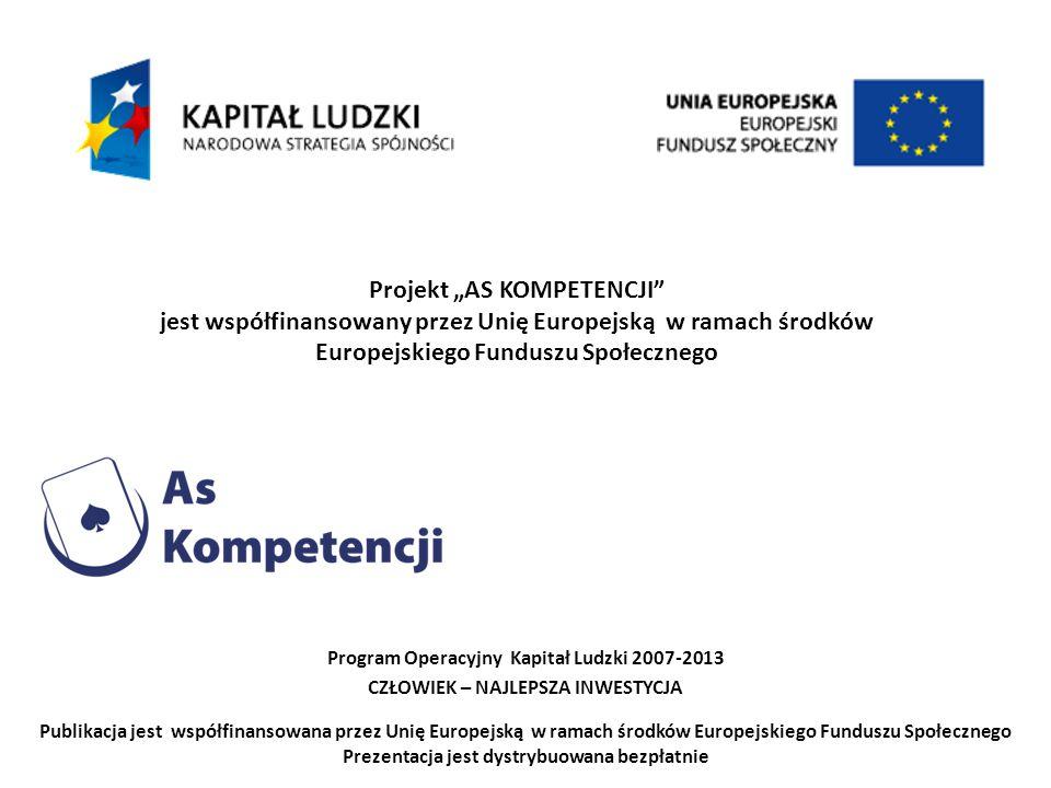 """Projekt """"AS KOMPETENCJI"""" jest współfinansowany przez Unię Europejską w ramach środków Europejskiego Funduszu Społecznego Program Operacyjny Kapitał Lu"""