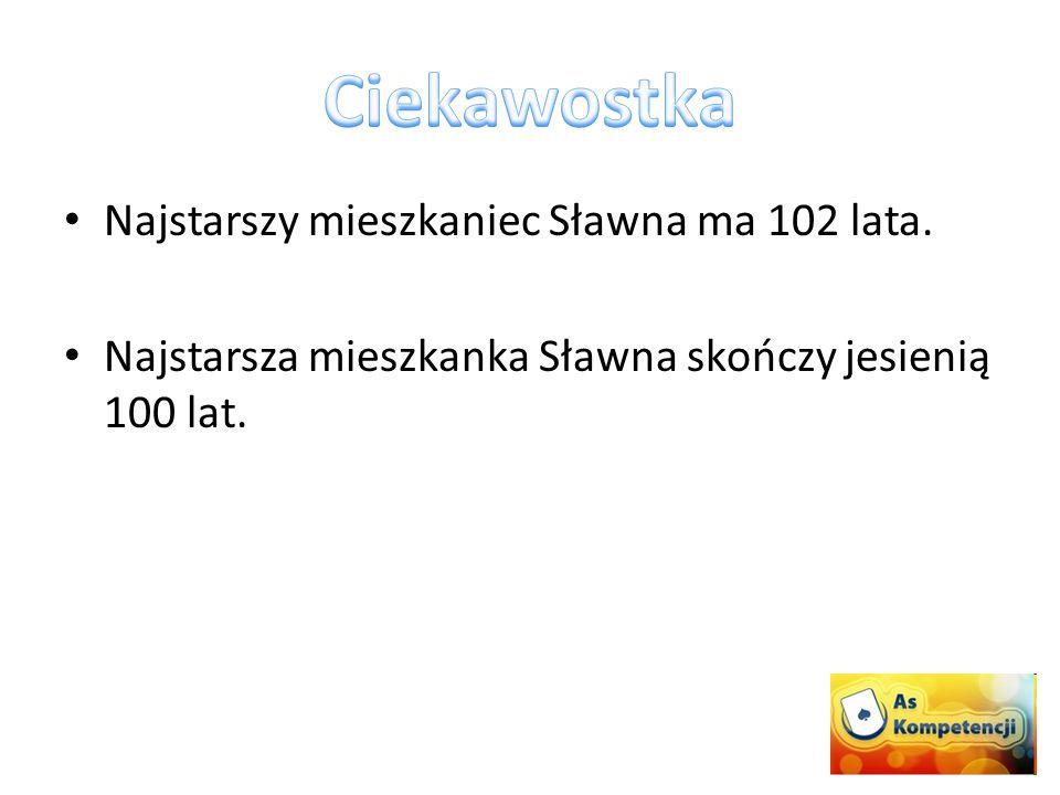Najstarszy mieszkaniec Sławna ma 102 lata. Najstarsza mieszkanka Sławna skończy jesienią 100 lat.