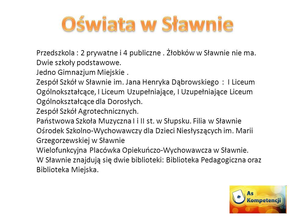 Przedszkola : 2 prywatne i 4 publiczne. Żłobków w Sławnie nie ma.
