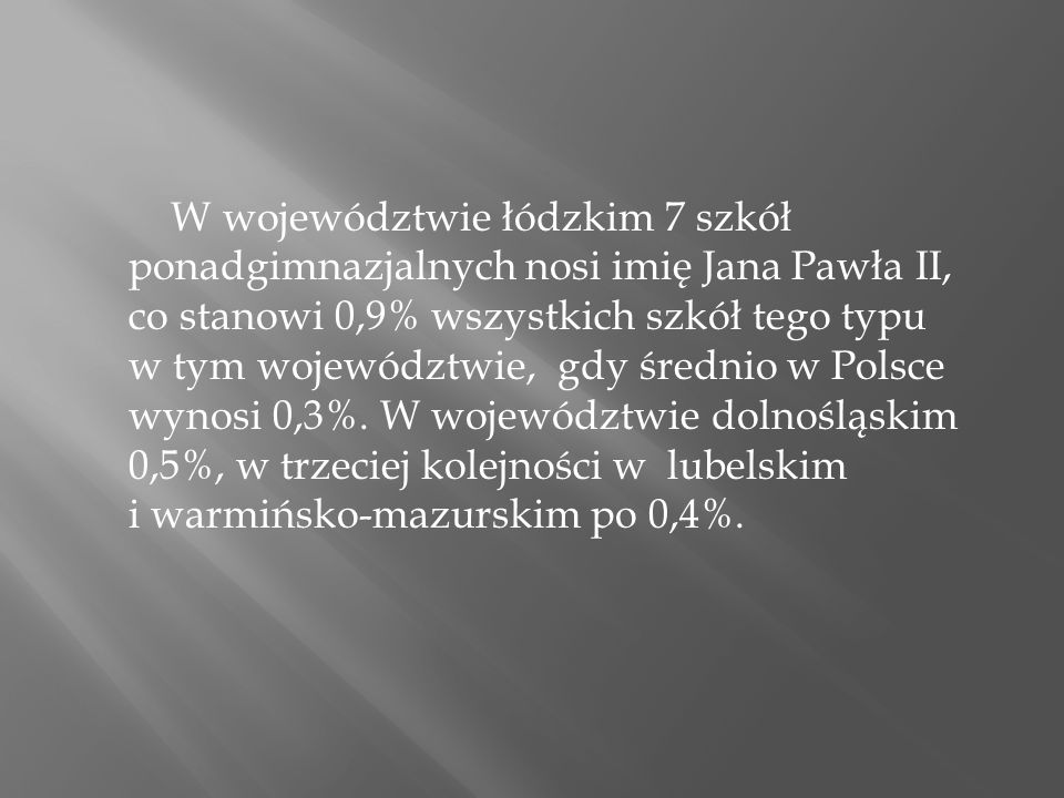 W województwie łódzkim 7 szkół ponadgimnazjalnych nosi imię Jana Pawła II, co stanowi 0,9% wszystkich szkół tego typu w tym województwie, gdy średnio w Polsce wynosi 0,3%.