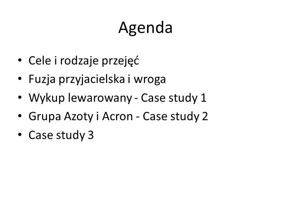 Agenda Cele i rodzaje przejęć Fuzja przyjacielska i wroga Wykup lewarowany - Case study 1 Grupa Azoty i Acron - Case study 2 Case study 3