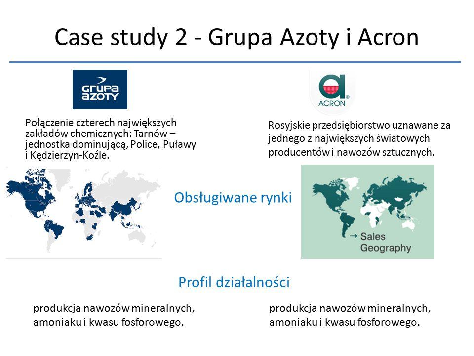 Case study 2 - Grupa Azoty i Acron Połączenie czterech największych zakładów chemicznych: Tarnów – jednostka dominującą, Police, Puławy i Kędzierzyn-K