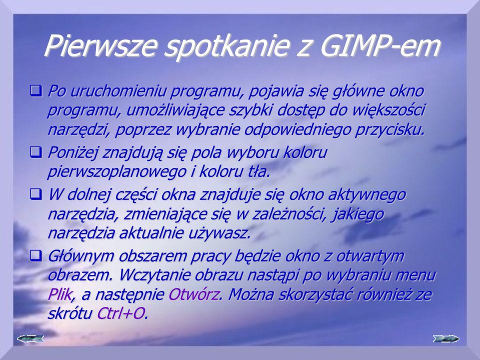 Pierwsze spotkanie z GIMP-em  Po uruchomieniu programu, pojawia się główne okno programu, umożliwiające szybki dostęp do większości narzędzi, poprzez