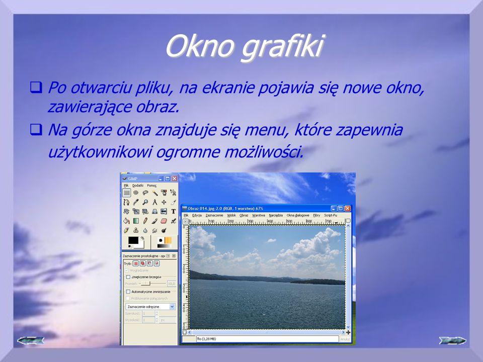 Okno grafiki  Po otwarciu pliku, na ekranie pojawia się nowe okno, zawierające obraz.  Na górze okna znajduje się menu, które zapewnia użytkownikowi