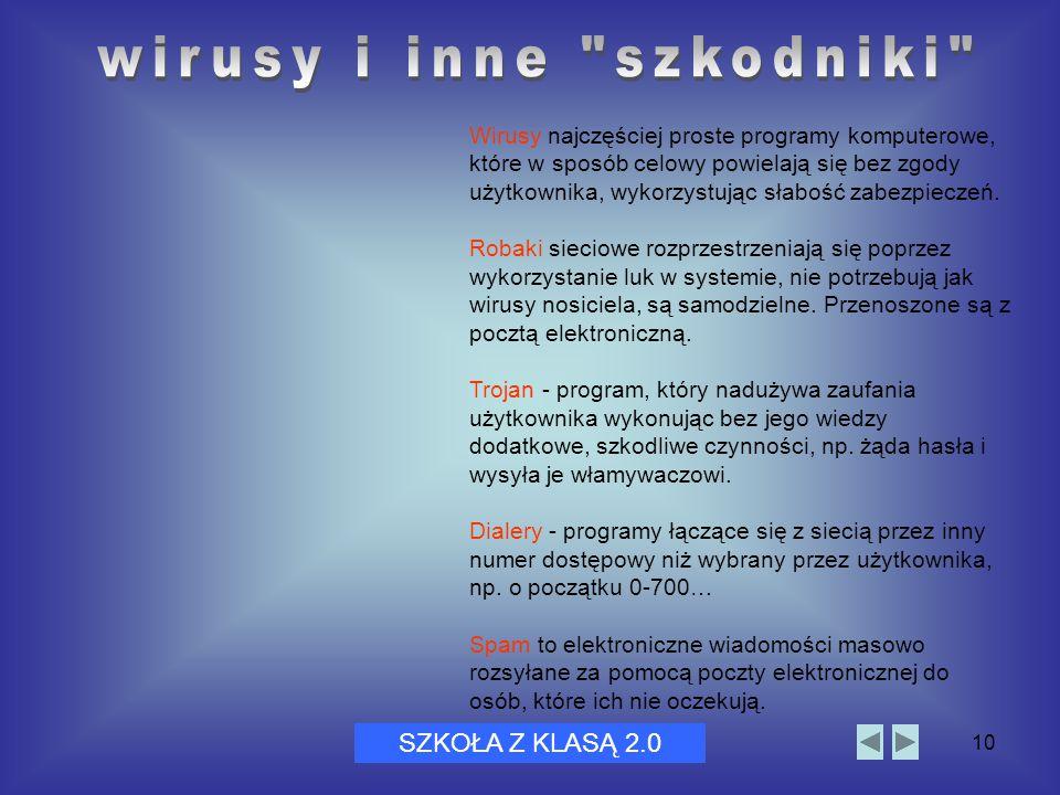 Dni Bezpiecznego Internetu 200510 Wirusy najczęściej proste programy komputerowe, które w sposób celowy powielają się bez zgody użytkownika, wykorzyst