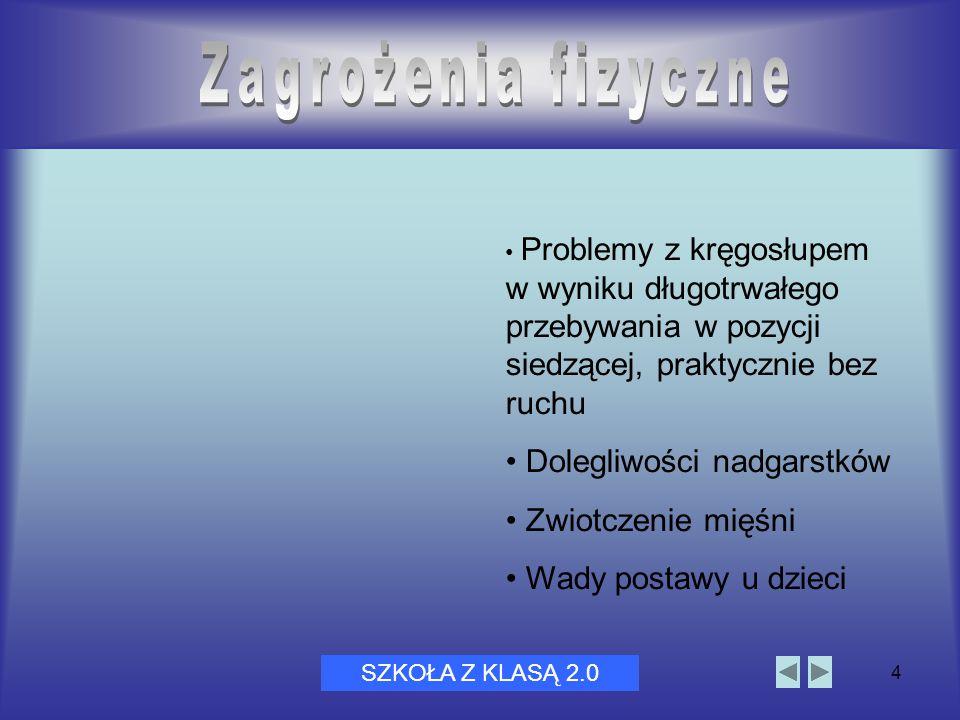 Dni Bezpiecznego Internetu 20054 ` Problemy z kręgosłupem w wyniku długotrwałego przebywania w pozycji siedzącej, praktycznie bez ruchu Dolegliwości n