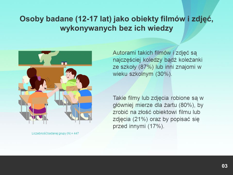Autorami takich filmów i zdjęć są najczęściej koledzy bądź koleżanki ze szkoły (87%) lub inni znajomi w wieku szkolnym (30%). Takie filmy lub zdjęcia