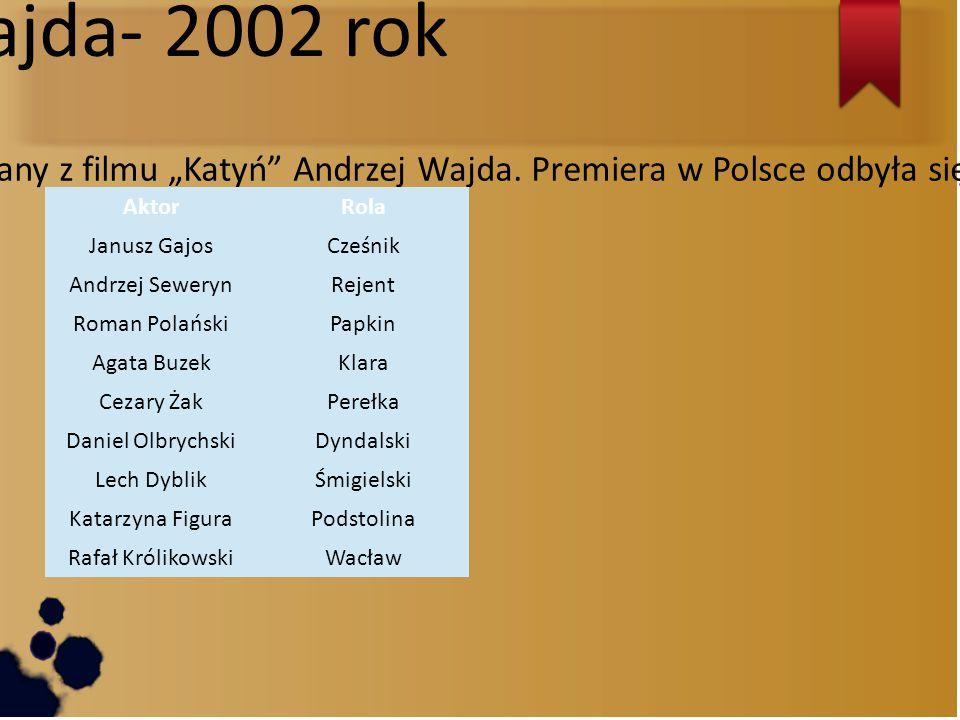 """Andrzej Wajda- 2002 rok Film powstał w 2002 roku, a jego reżyserem i scenarzystą był znany z filmu """"Katyń Andrzej Wajda."""