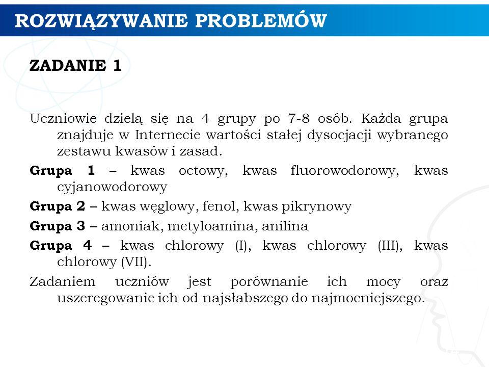 ROZWIĄZYWANIE PROBLEMÓW ZADANIE 1 Uczniowie dzielą się na 4 grupy po 7-8 osób. Każda grupa znajduje w Internecie wartości stałej dysocjacji wybranego