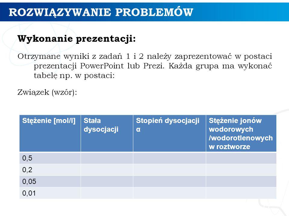 ROZWIĄZYWANIE PROBLEMÓW Wykonanie prezentacji: Otrzymane wyniki z zadań 1 i 2 należy zaprezentować w postaci prezentacji PowerPoint lub Prezi. Każda g
