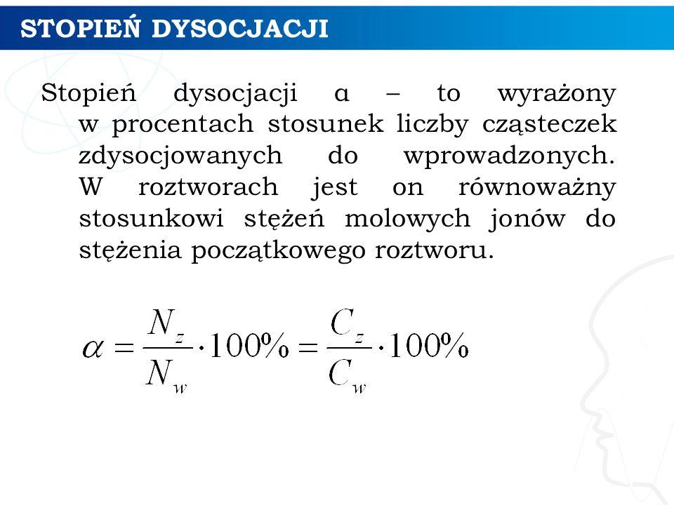 STOPIEŃ DYSOCJACJI Stopień dysocjacji α – to wyrażony w procentach stosunek liczby cząsteczek zdysocjowanych do wprowadzonych. W roztworach jest on ró