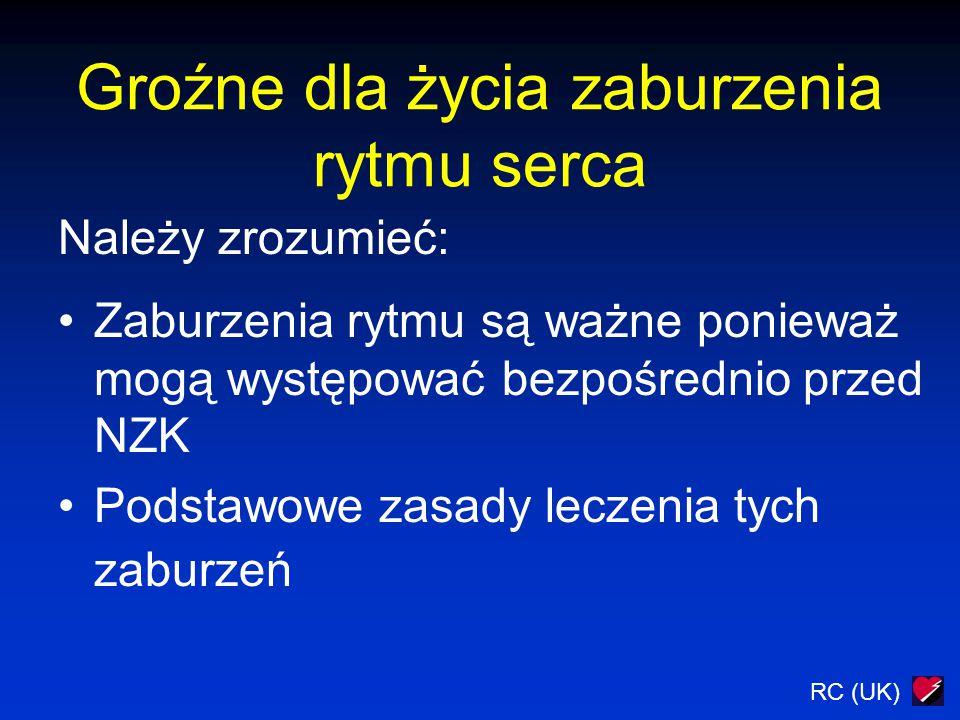 RC (UK) Bradykardia Istnieje ryzyko wystąpienia asystolii Nie ma odpowiedzi na podanie atropiny 1.Kolejna dawki atropiny do 3 mg max 2.Zewnętrzna stymulacja serca 3.Wlew adrenaliny, 2-10  g min -1 4.Przygotować elektrodę endokawitarną WEZWIJ NA POMOC SPECJALISTĘ !