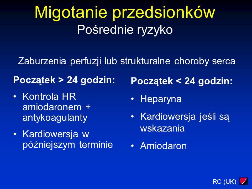 RC (UK) Migotanie przedsionków Pośrednie ryzyko Zaburzenia perfuzji lub strukturalne choroby serca Początek > 24 godzin: Kontrola HR amiodaronem + ant