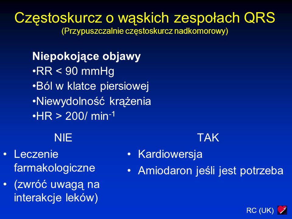 RC (UK) Częstoskurcz o wąskich zespołach QRS (Przypuszczalnie częstoskurcz nadkomorowy) NIE Leczenie farmakologiczne (zwróć uwagą na interakcje leków)