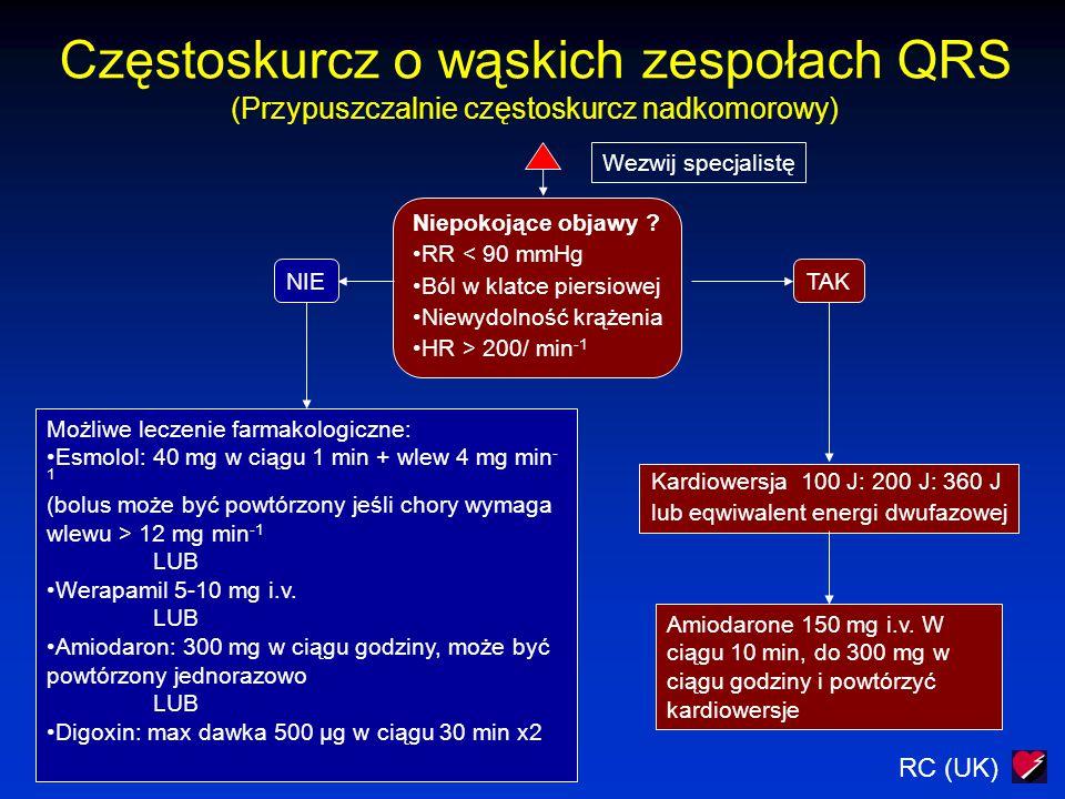 RC (UK) Częstoskurcz o wąskich zespołach QRS (Przypuszczalnie częstoskurcz nadkomorowy) Wezwij specjalistę Niepokojące objawy ? RR < 90 mmHg Ból w kla