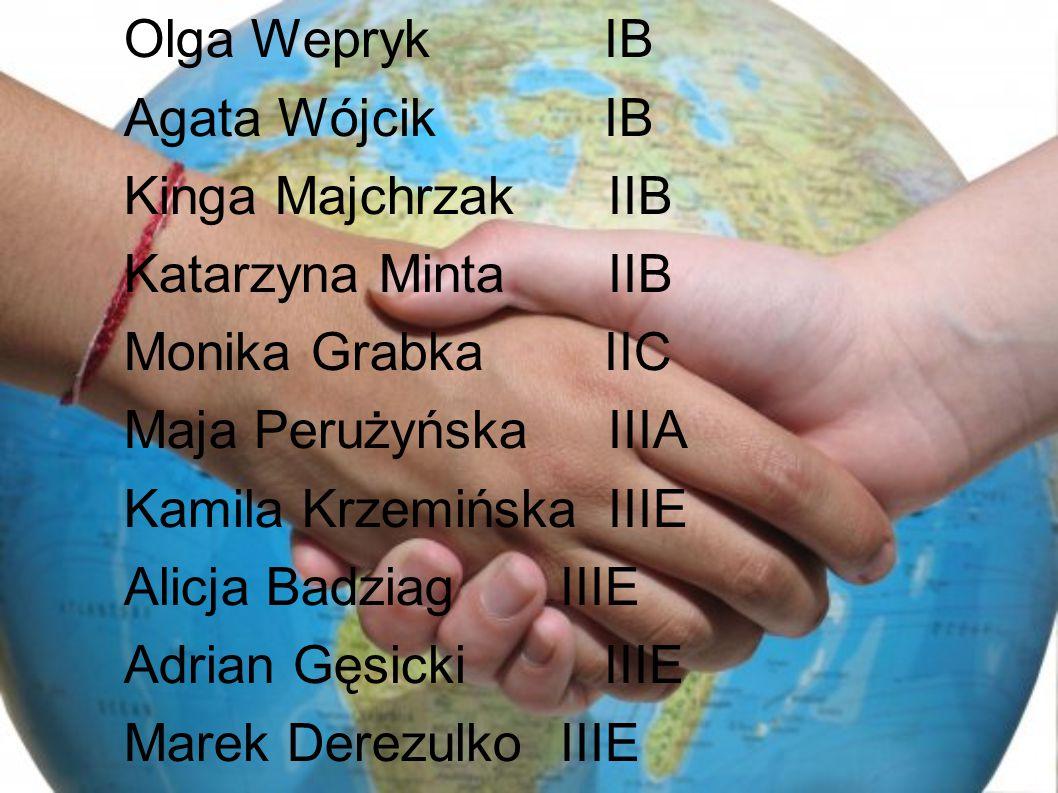Olga Wepryk IB Agata Wójcik IB Kinga Majchrzak IIB Katarzyna Minta IIB Monika Grabka IIC Maja Perużyńska IIIA Kamila Krzemińska IIIE Alicja BadziagIIIE Adrian Gęsicki IIIE Marek Derezulko IIIE