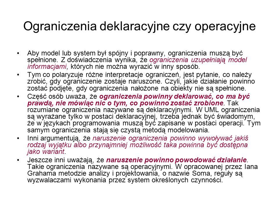 Ograniczenia deklaracyjne czy operacyjne Aby model lub system był spójny i poprawny, ograniczenia muszą być spełnione. Z doświadczenia wynika, że ogra