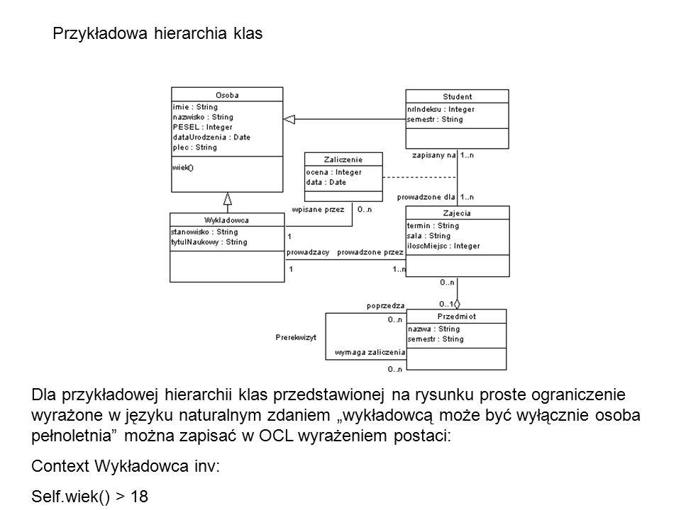 """Przykładowa hierarchia klas Dla przykładowej hierarchii klas przedstawionej na rysunku proste ograniczenie wyrażone w języku naturalnym zdaniem """"wykła"""