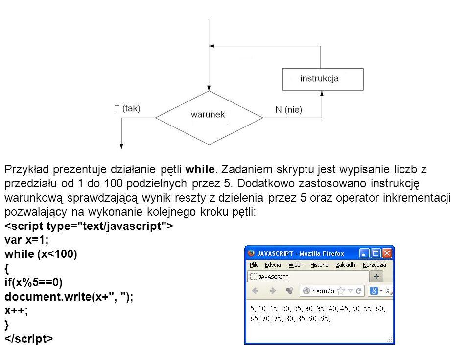 Przykład prezentuje działanie pętli while. Zadaniem skryptu jest wypisanie liczb z przedziału od 1 do 100 podzielnych przez 5. Dodatkowo zastosowano i