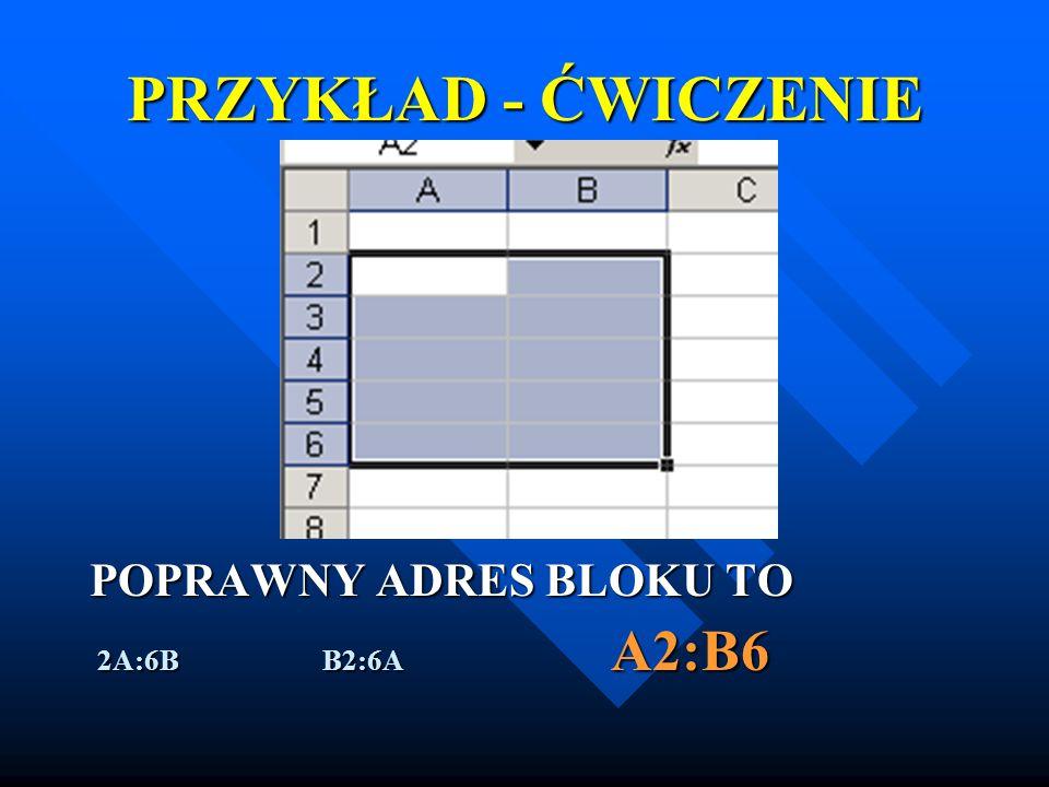 PRZYKŁAD - ĆWICZENIE POPRAWNY ADRES BLOKU TO 2A:6B B2:6A A2:B6 2A:6B B2:6A A2:B6