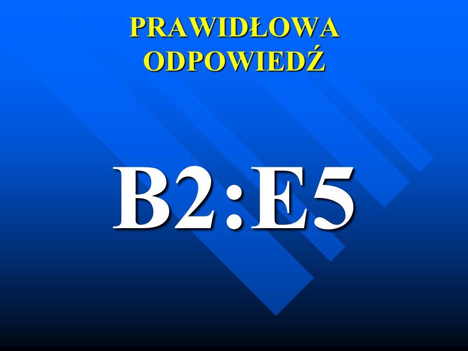 PRAWIDŁOWA ODPOWIEDŹ B2:E5