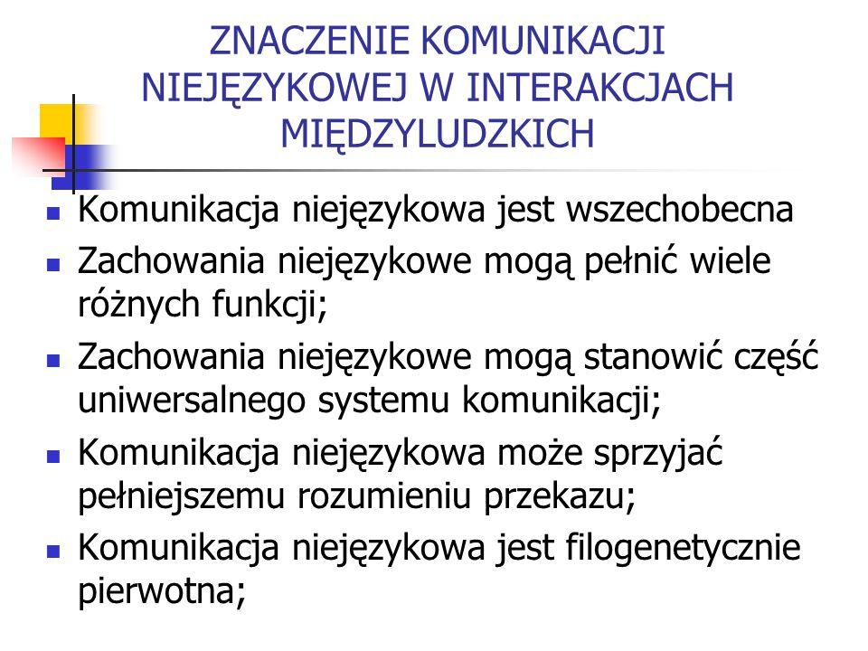 ZNACZENIE KOMUNIKACJI NIEJĘZYKOWEJ W INTERAKCJACH MIĘDZYLUDZKICH Komunikacja niejęzykowa jest wszechobecna Zachowania niejęzykowe mogą pełnić wiele różnych funkcji; Zachowania niejęzykowe mogą stanowić część uniwersalnego systemu komunikacji; Komunikacja niejęzykowa może sprzyjać pełniejszemu rozumieniu przekazu; Komunikacja niejęzykowa jest filogenetycznie pierwotna;