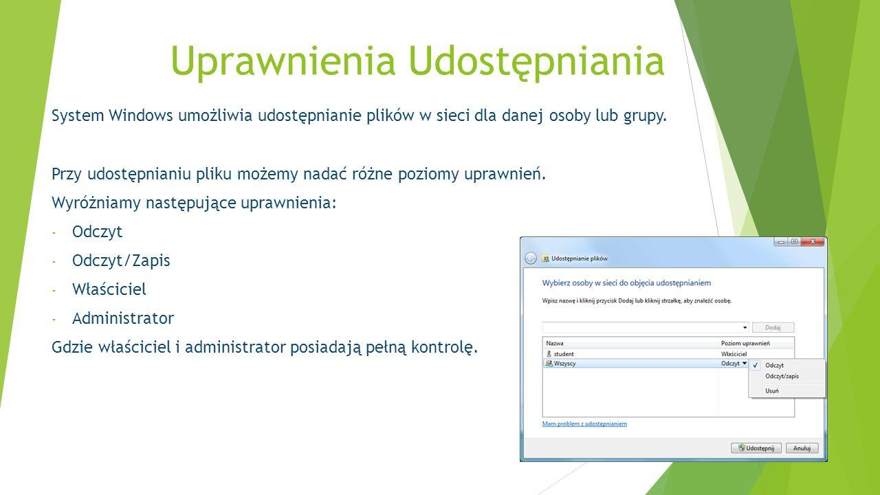 System Windows umożliwia udostępnianie plików w sieci dla danej osoby lub grupy. Przy udostępnianiu pliku możemy nadać różne poziomy uprawnień. Wyróżn