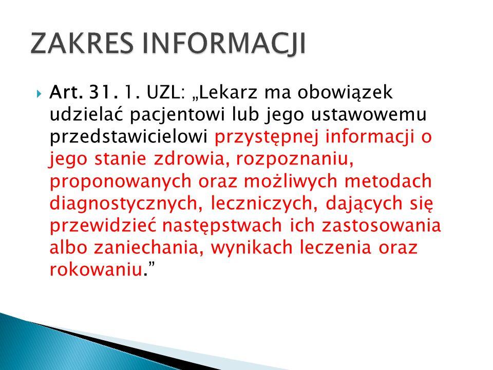 """ Art. 31. 1. UZL: """"Lekarz ma obowiązek udzielać pacjentowi lub jego ustawowemu przedstawicielowi przystępnej informacji o jego stanie zdrowia, rozpoz"""