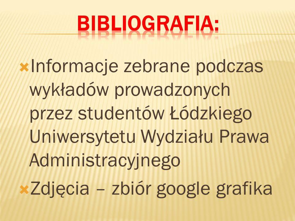  Informacje zebrane podczas wykładów prowadzonych przez studentów Łódzkiego Uniwersytetu Wydziału Prawa Administracyjnego  Zdjęcia – zbiór google grafika