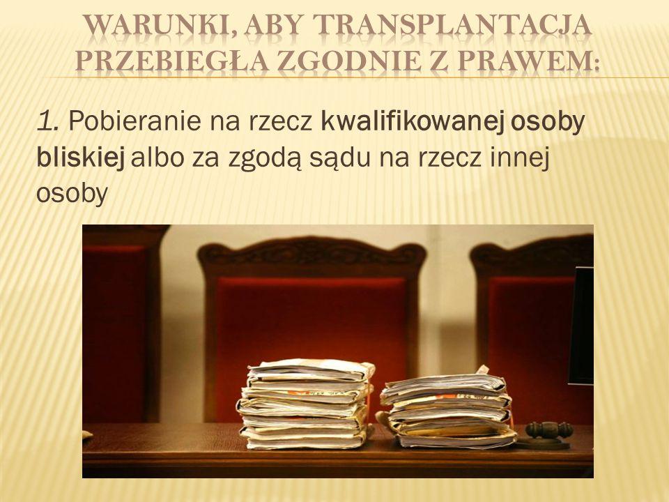 2.Zasadność i celowość pobrania i przeszczepu 3.