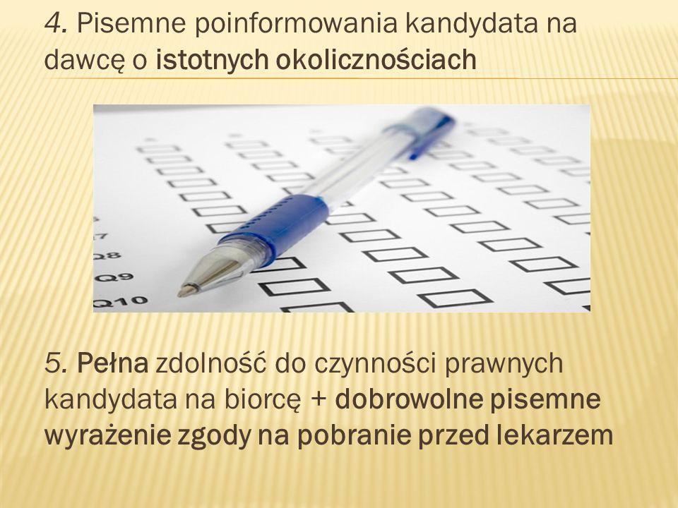 4. Pisemne poinformowania kandydata na dawcę o istotnych okolicznościach 5.