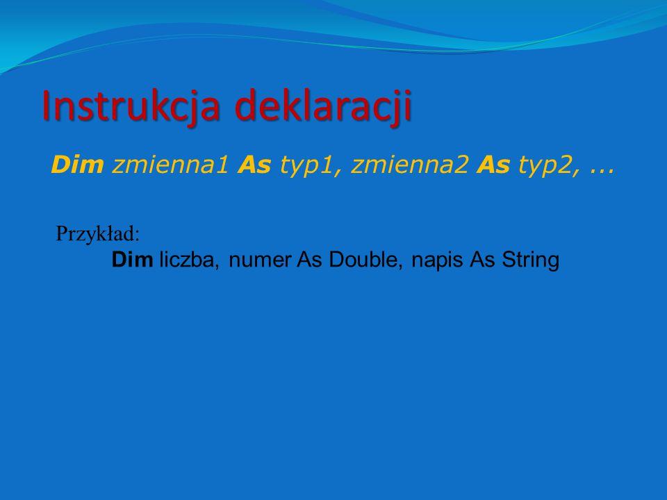 """Analogie pomiędzy EXCELEM a VB EXCELVB Adresy, nazwy zakresów A1, nazwa_zakresu Formuła (A1) = B1^2 – 4*C1 Zmienne (zakresowe) [A1], [nazwa_zakresu] """"Zwykłe zmienne –deklarowane instrukcją DIM Instrukcja [A1] = [B1]^2 – 4*[C1]"""