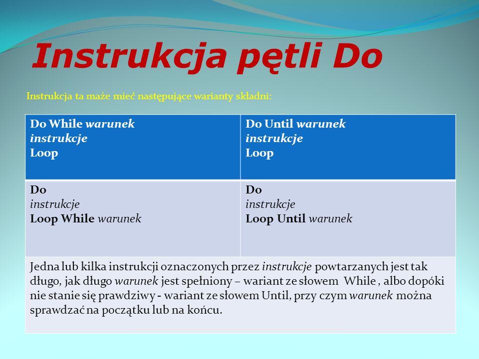 """Instrukcja pętli for - """"dla For licznik = początek To koniec Step krok instrukcje Next licznik"""