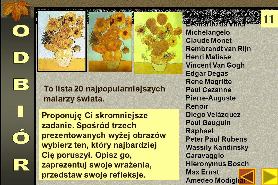 11 Pablo Picasso Leonardo da Vinci Michelangelo Claude Monet Rembrandt van Rijn Henri Matisse Vincent Van Gogh Edgar Degas Rene Magritte Paul Cezanne