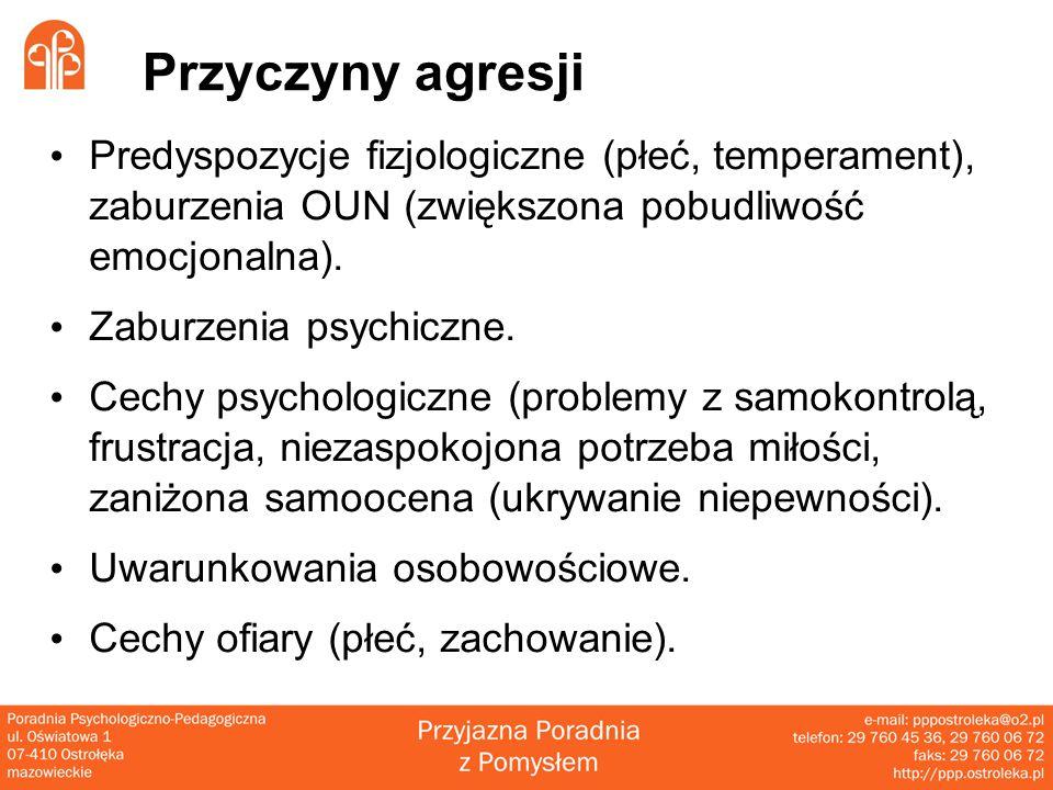 Przyczyny agresji Predyspozycje fizjologiczne (płeć, temperament), zaburzenia OUN (zwiększona pobudliwość emocjonalna).