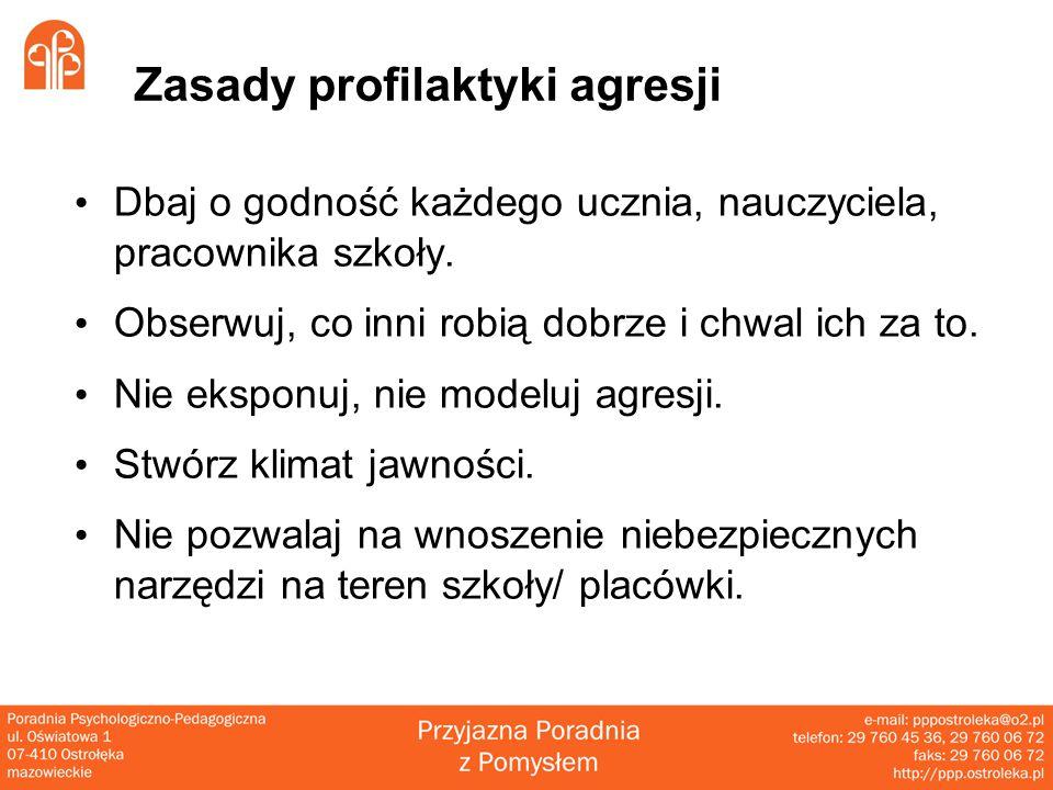 Zasady profilaktyki agresji Dbaj o godność każdego ucznia, nauczyciela, pracownika szkoły.