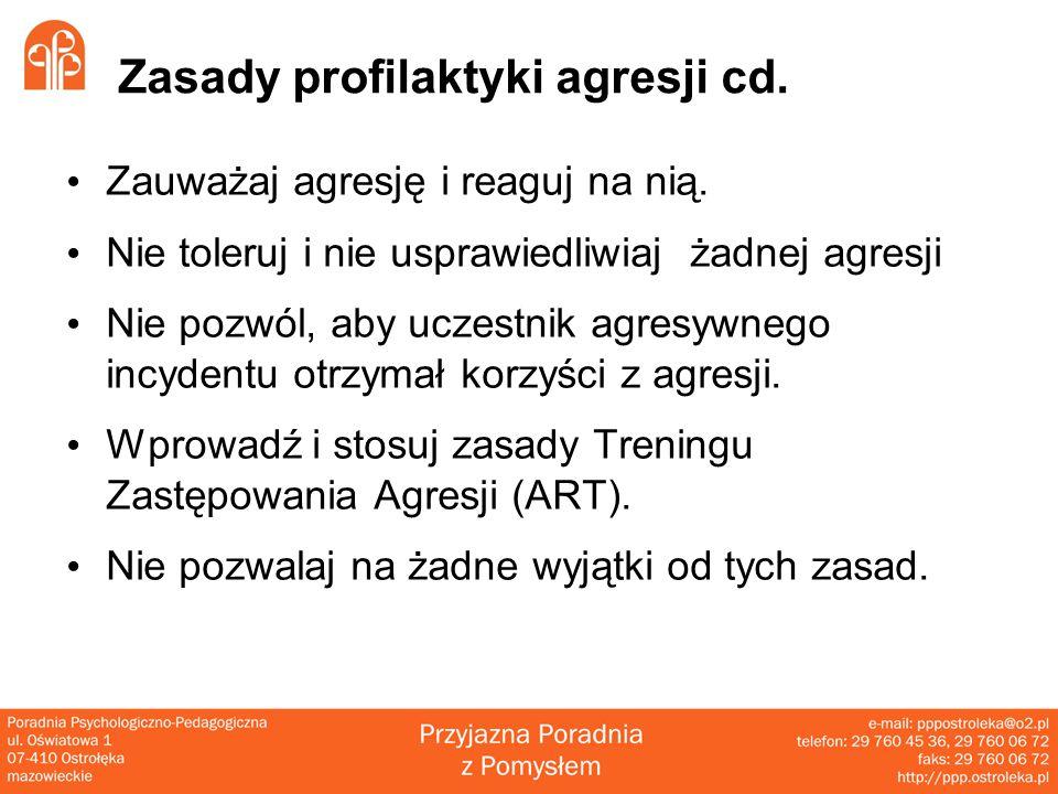 Zasady profilaktyki agresji cd.Zauważaj agresję i reaguj na nią.