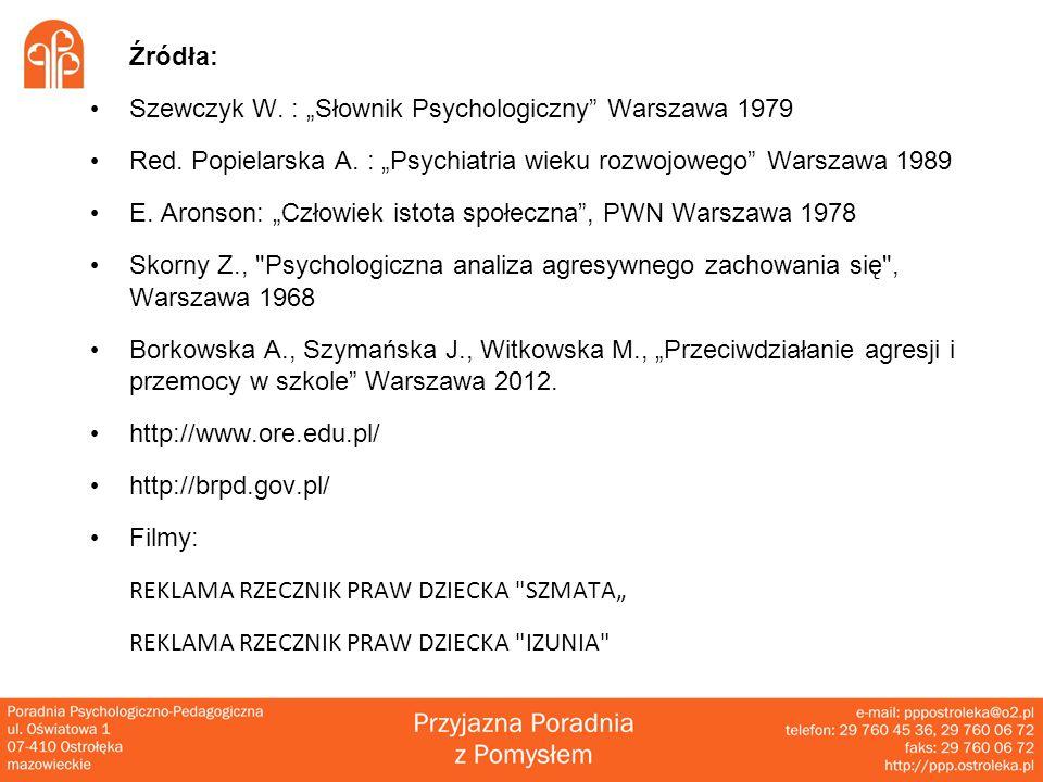 """Źródła: Szewczyk W.: """"Słownik Psychologiczny Warszawa 1979 Red."""