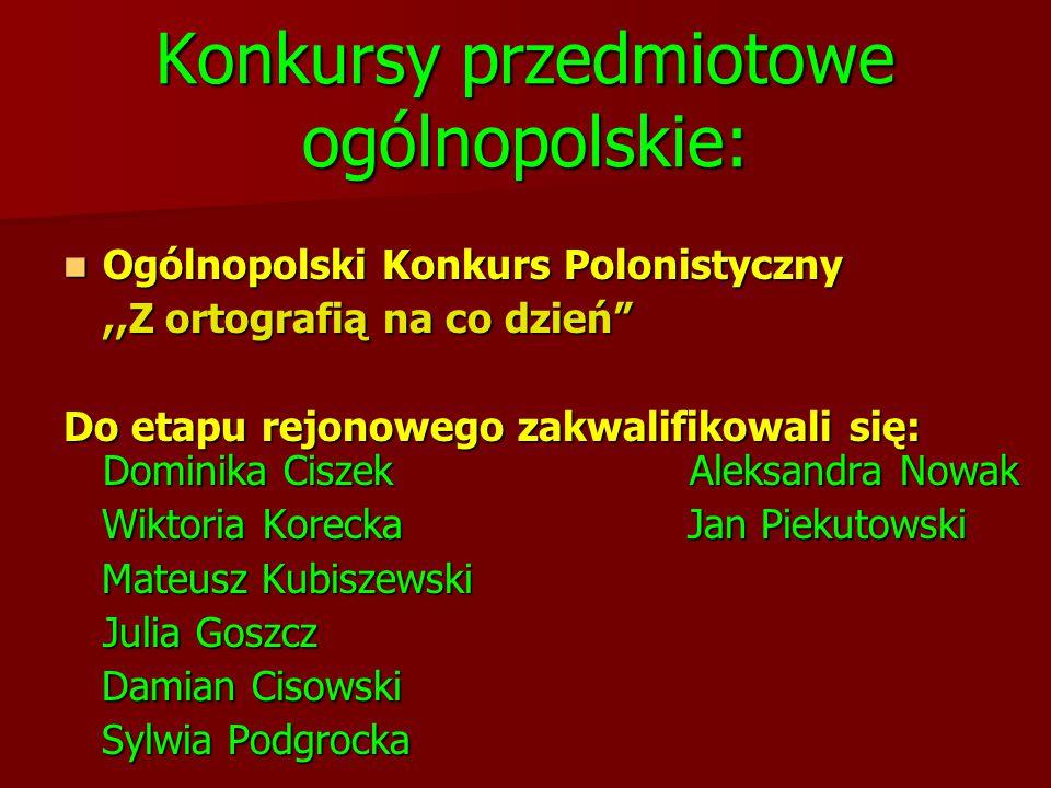 """Konkursy przedmiotowe ogólnopolskie: Ogólnopolski Konkurs Polonistyczny Ogólnopolski Konkurs Polonistyczny,,Z ortografią na co dzień"""" Do etapu rejonow"""