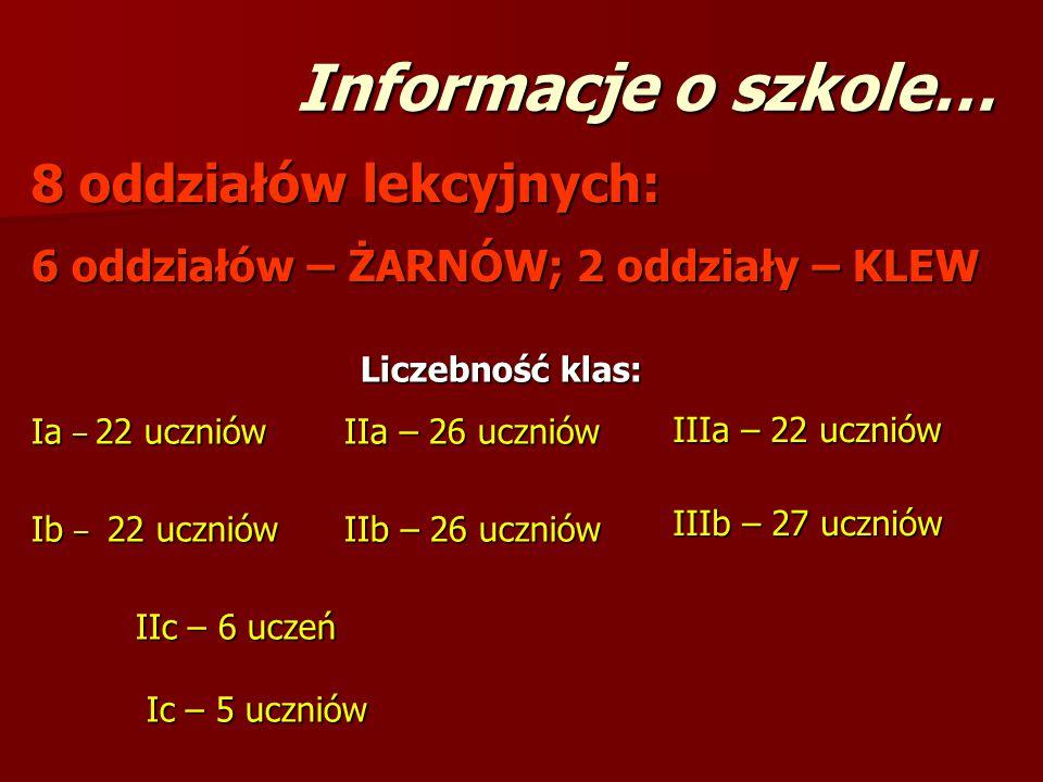 Informacje o szkole… 8 oddziałów lekcyjnych: 6 oddziałów – ŻARNÓW; 2 oddziały – KLEW Liczebność klas: Ia – 22 uczniówIIa – 26 uczniów Ib – 22 uczniówI