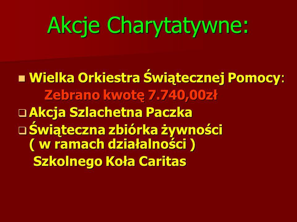 Akcje Charytatywne: Wielka Orkiestra Świątecznej Pomocy: Wielka Orkiestra Świątecznej Pomocy: Zebrano kwotę 7.740,00zł Zebrano kwotę 7.740,00zł  Akcj