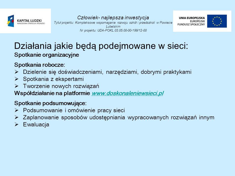 Człowiek- najlepsza inwestycja Tytuł projektu: Kompleksowe wspomaganie rozwoju szkół i przedszkoli w Powiecie Lubelskim Nr projektu: UDA-POKL.03.05.00-00-199/12-00 Działania jakie będą podejmowane w sieci: Spotkanie organizacyjne Spotkania robocze:  Dzielenie się doświadczeniami, narzędziami, dobrymi praktykami  Spotkania z ekspertami  Tworzenie nowych rozwiązań Współdziałanie na platformie www.doskonaleniewsieci.plwww.doskonaleniewsieci.pl Spotkanie podsumowujące:  Podsumowanie i omówienie pracy sieci  Zaplanowanie sposobów udostępniania wypracowanych rozwiązań innym  Ewaluacja