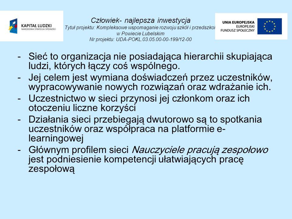 Człowiek- najlepsza inwestycja Tytuł projektu: Kompleksowe wspomaganie rozwoju szkół i przedszkoli w Powiecie Lubelskim Nr projektu: UDA-POKL.03.05.00-00-199/12-00 -Sieć to organizacja nie posiadająca hierarchii skupiająca ludzi, których łączy coś wspólnego.