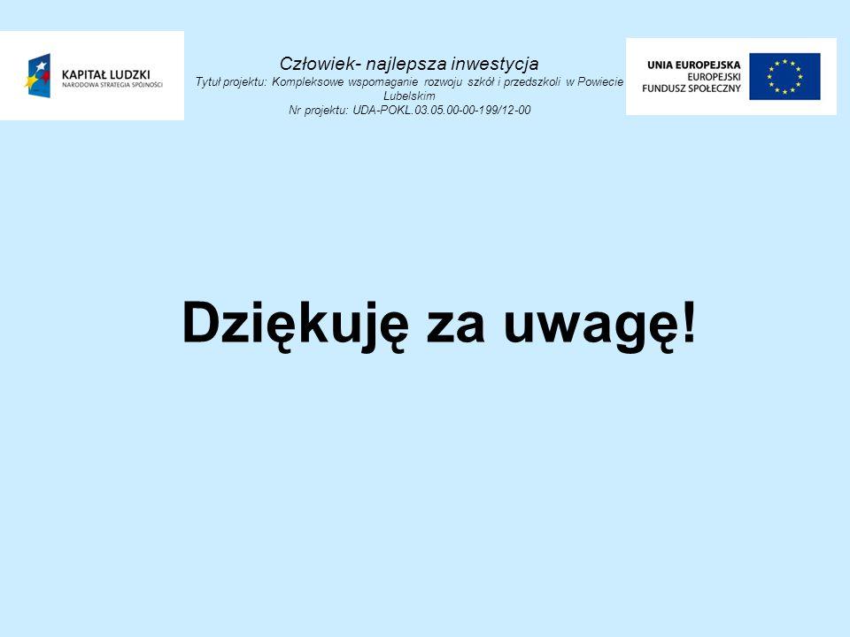 Człowiek- najlepsza inwestycja Tytuł projektu: Kompleksowe wspomaganie rozwoju szkół i przedszkoli w Powiecie Lubelskim Nr projektu: UDA-POKL.03.05.00-00-199/12-00 Dziękuję za uwagę!