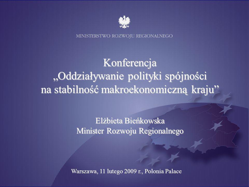 """Konferencja """"Oddziaływanie polityki spójności na stabilność makroekonomiczną kraju Elżbieta Bieńkowska Minister Rozwoju Regionalnego Warszawa, 11 lutego 2009 r., Polonia Palace"""