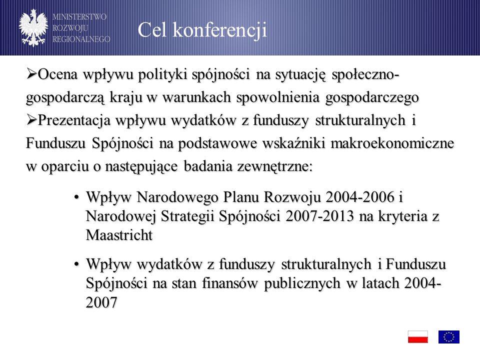  Ocena wpływu polityki spójności na sytuację społeczno- gospodarczą kraju w warunkach spowolnienia gospodarczego  Prezentacja wpływu wydatków z funduszy strukturalnych i Funduszu Spójności na podstawowe wskaźniki makroekonomiczne w oparciu o następujące badania zewnętrzne: Wpływ Narodowego Planu Rozwoju 2004-2006 i Narodowej Strategii Spójności 2007-2013 na kryteria z MaastrichtWpływ Narodowego Planu Rozwoju 2004-2006 i Narodowej Strategii Spójności 2007-2013 na kryteria z Maastricht Wpływ wydatków z funduszy strukturalnych i Funduszu Spójności na stan finansów publicznych w latach 2004- 2007Wpływ wydatków z funduszy strukturalnych i Funduszu Spójności na stan finansów publicznych w latach 2004- 2007 Cel konferencji