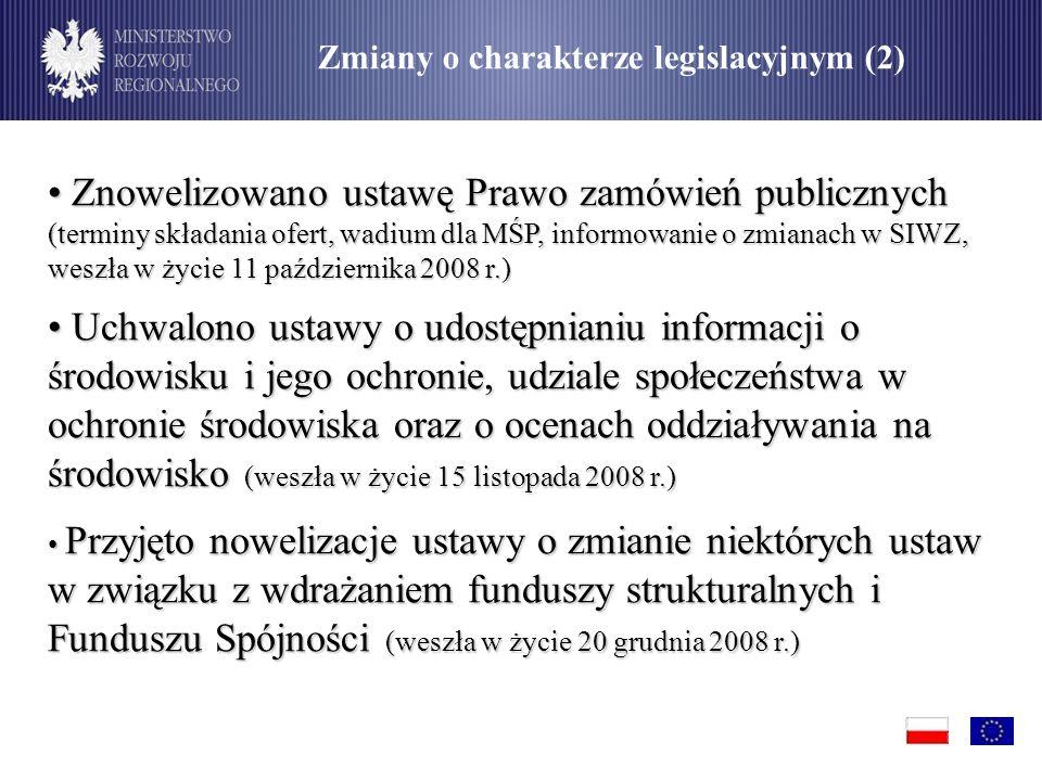 Znowelizowano ustawę Prawo zamówień publicznych (terminy składania ofert, wadium dla MŚP, informowanie o zmianach w SIWZ, weszła w życie 11 października 2008 r.) Znowelizowano ustawę Prawo zamówień publicznych (terminy składania ofert, wadium dla MŚP, informowanie o zmianach w SIWZ, weszła w życie 11 października 2008 r.) Uchwalono ustawy o udostępnianiu informacji o środowisku i jego ochronie, udziale społeczeństwa w ochronie środowiska oraz o ocenach oddziaływania na środowisko (weszła w życie 15 listopada 2008 r.) Uchwalono ustawy o udostępnianiu informacji o środowisku i jego ochronie, udziale społeczeństwa w ochronie środowiska oraz o ocenach oddziaływania na środowisko (weszła w życie 15 listopada 2008 r.) Przyjęto nowelizacje ustawy o zmianie niektórych ustaw w związku z wdrażaniem funduszy strukturalnych i Funduszu Spójności (weszła w życie 20 grudnia 2008 r.) Przyjęto nowelizacje ustawy o zmianie niektórych ustaw w związku z wdrażaniem funduszy strukturalnych i Funduszu Spójności (weszła w życie 20 grudnia 2008 r.) Zmiany o charakterze legislacyjnym (2)