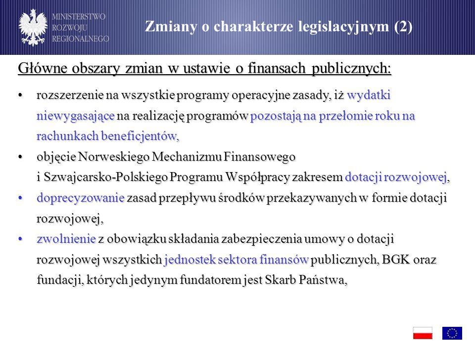 Główne obszary zmian w ustawie o finansach publicznych: rozszerzenie na wszystkie programy operacyjne zasady, iż wydatki niewygasające na realizację programów pozostają na przełomie roku na rachunkach beneficjentów,rozszerzenie na wszystkie programy operacyjne zasady, iż wydatki niewygasające na realizację programów pozostają na przełomie roku na rachunkach beneficjentów, objęcie Norweskiego Mechanizmu Finansowego i Szwajcarsko-Polskiego Programu Współpracy zakresem dotacji rozwojowej,objęcie Norweskiego Mechanizmu Finansowego i Szwajcarsko-Polskiego Programu Współpracy zakresem dotacji rozwojowej, doprecyzowanie zasad przepływu środków przekazywanych w formie dotacji rozwojowej,doprecyzowanie zasad przepływu środków przekazywanych w formie dotacji rozwojowej, zwolnienie z obowiązku składania zabezpieczenia umowy o dotacji rozwojowej wszystkich jednostek sektora finansów publicznych, BGK oraz fundacji, których jedynym fundatorem jest Skarb Państwa,zwolnienie z obowiązku składania zabezpieczenia umowy o dotacji rozwojowej wszystkich jednostek sektora finansów publicznych, BGK oraz fundacji, których jedynym fundatorem jest Skarb Państwa, Zmiany o charakterze legislacyjnym (2)